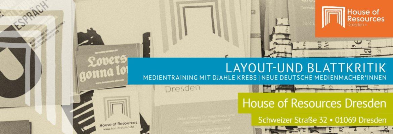 Flyer: Medientraining »Layout-und Blattkritik«