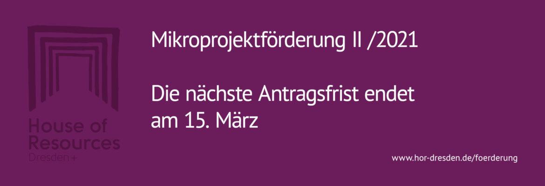 Antragsfrist für die Mikroprojektförderung II / 2021 des House of Resources Dresden+ endet am 15. März